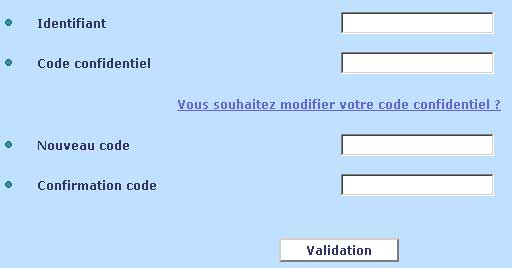 Formulaire modification code confidentiel