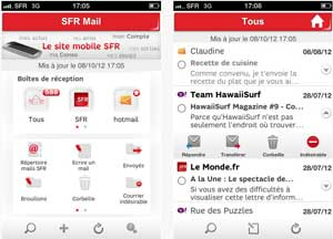 Application SFR Mail Iphone et Android
