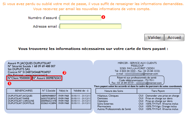 Demande de code d'authentification Mercernet